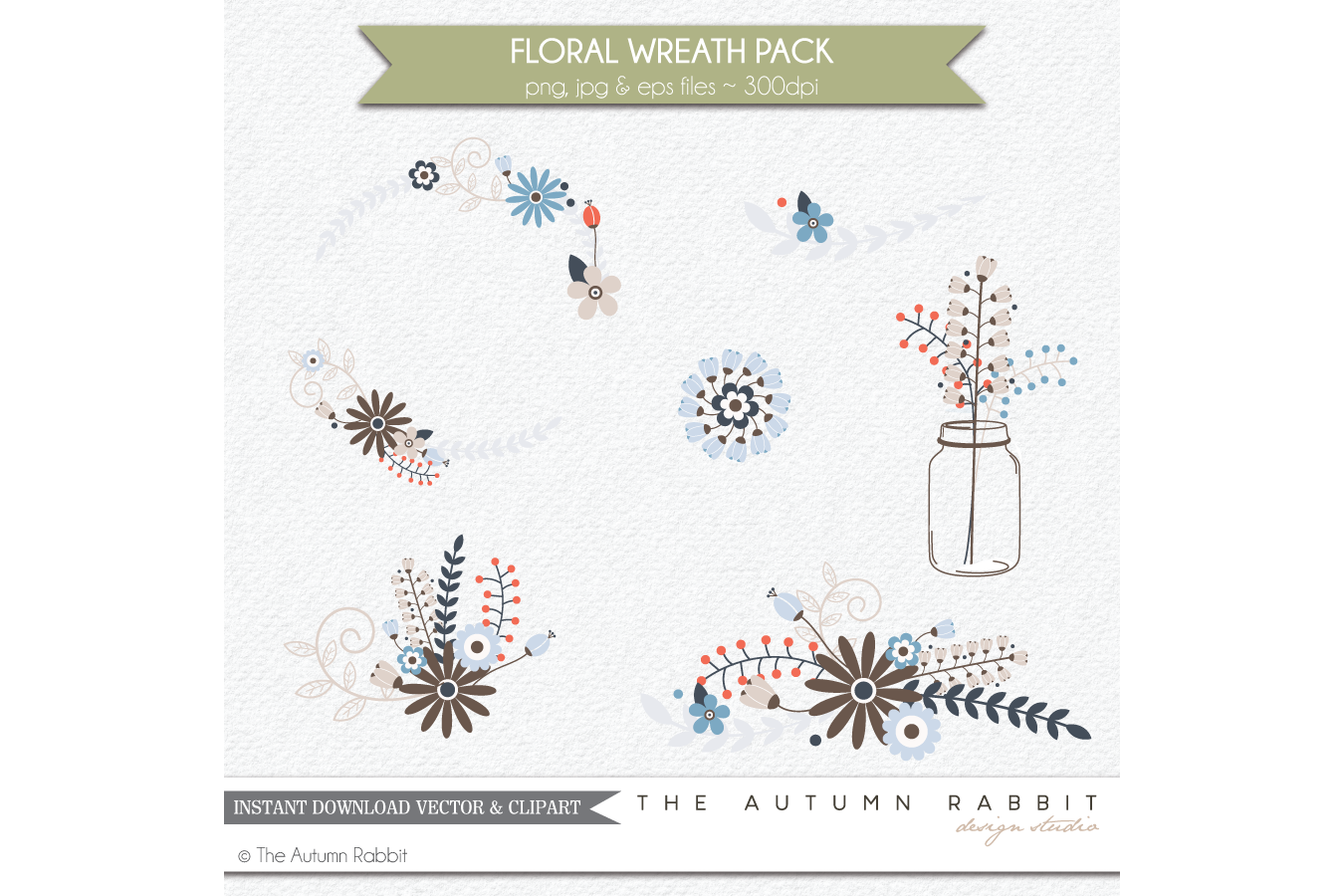 Floral Wreath Clipart Vectors example image 2