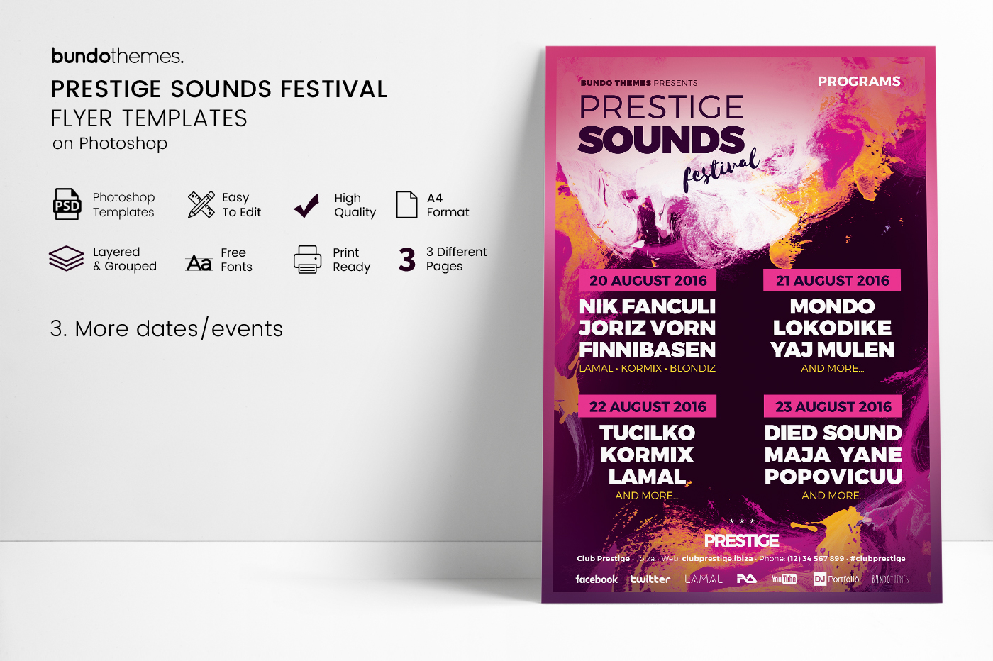 Prestige Sounds Festival Flyer Templates example image 3
