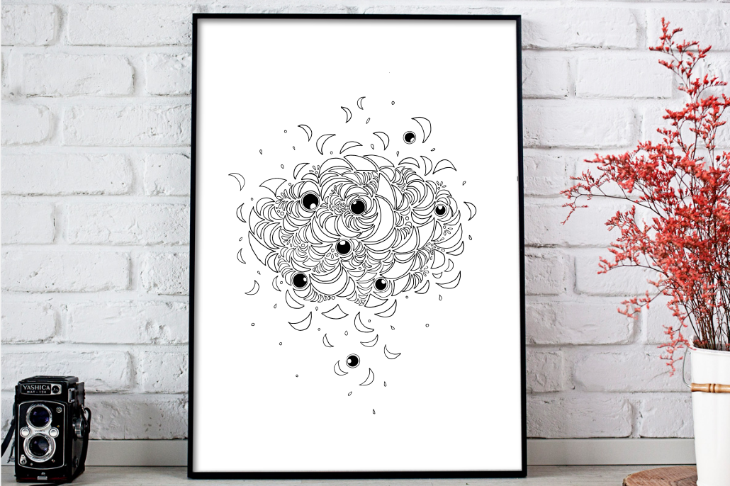 Abstract Illustration Black and White, A1, SVG example image 3