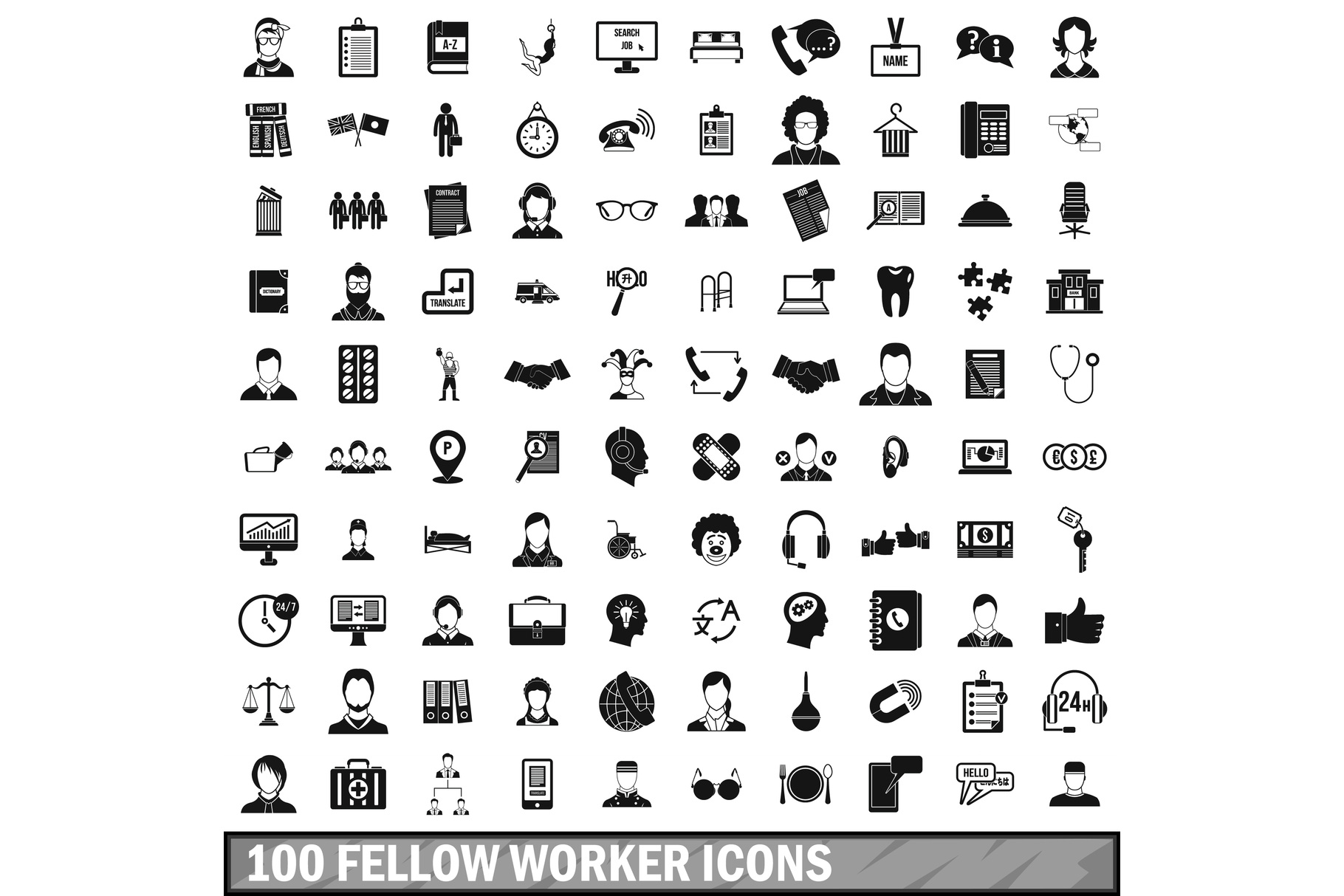 100 fellow worker icons set, simple style example image 1