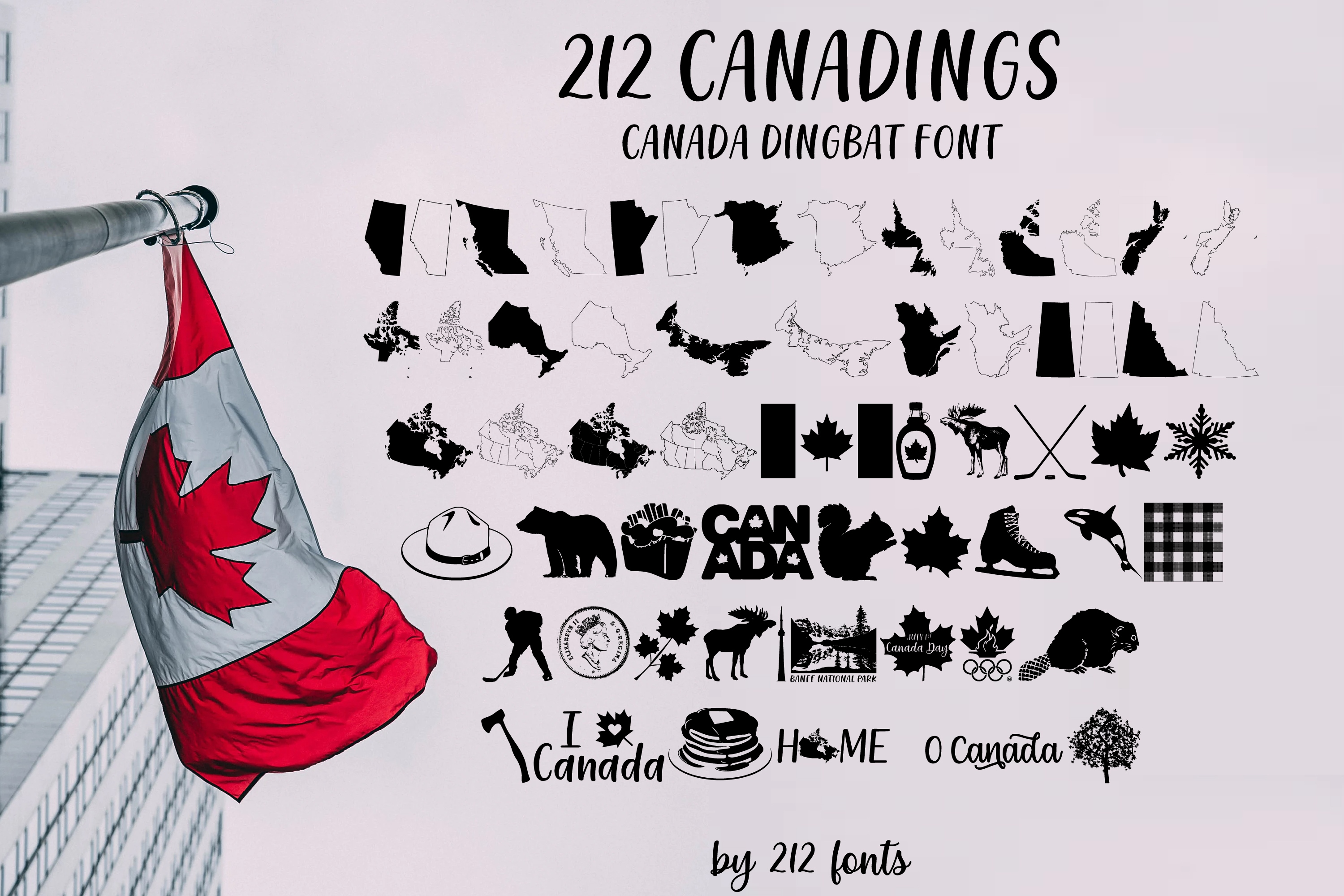 212 Canadings Canada Dingbat Solid and Outline Font example image 1