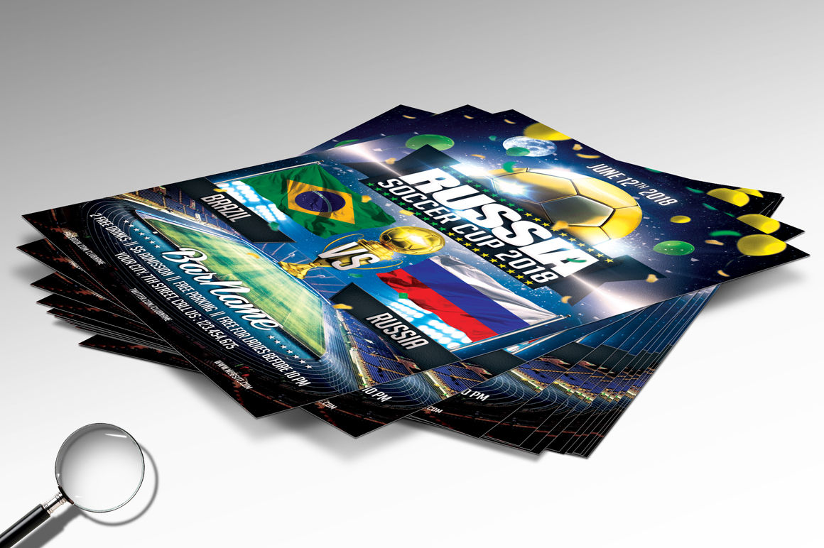 Soccer Russia World Cup 2018 | 2in1 Flyer Template example image 5