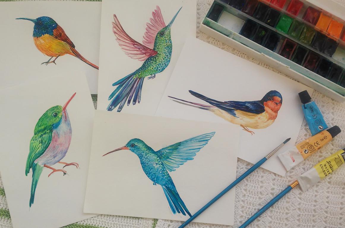 30 little birds.watercolor example image 5