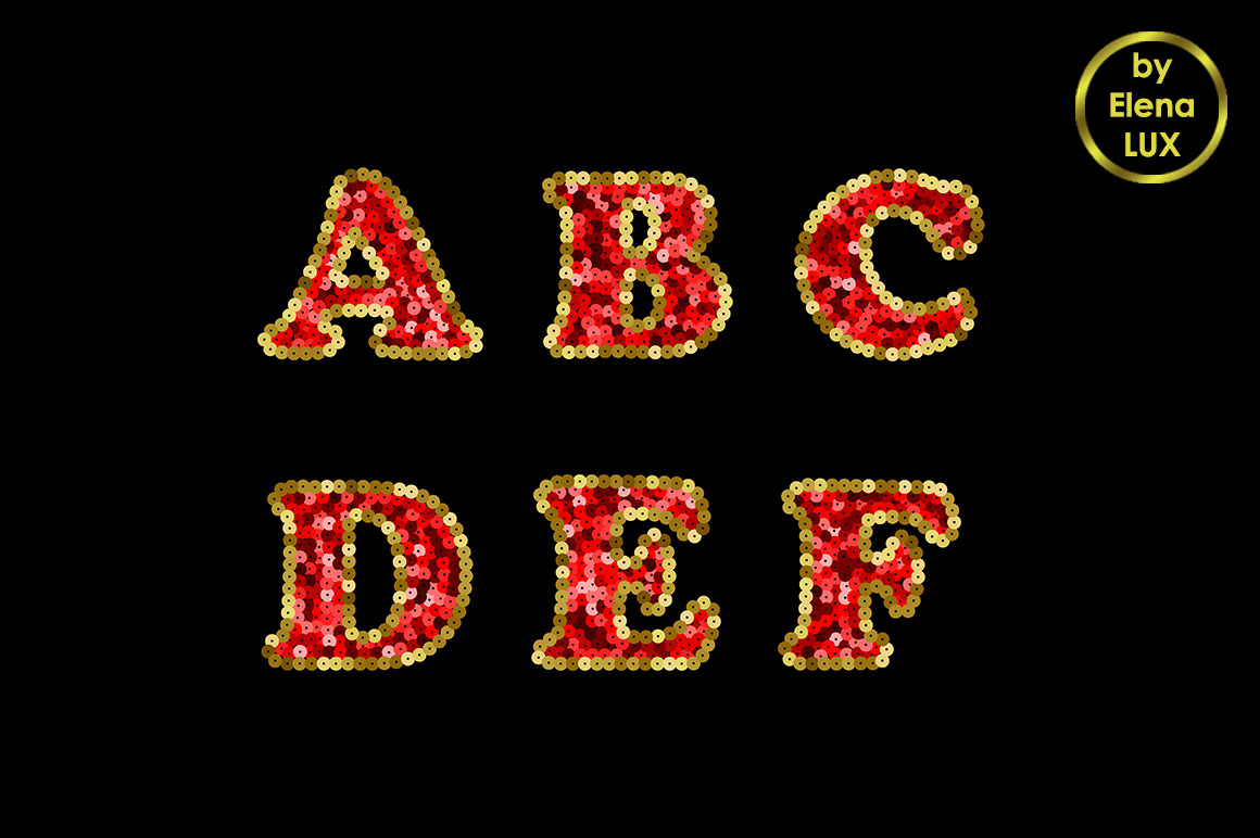 Sequin Red and Gold Vector Alphabet. Part 1 example image 2