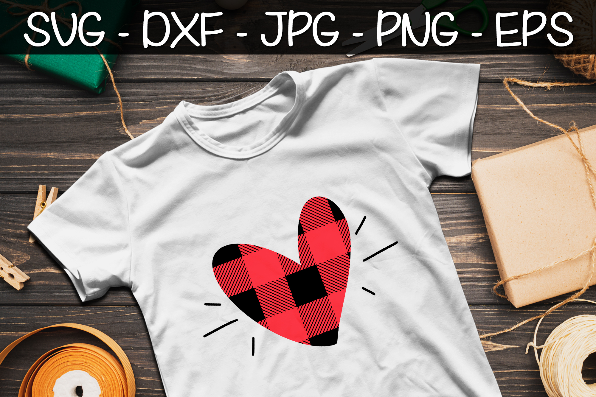 Valentine Heart Buffalo Plaid SVG EPS PNG Valentine's Day example image 1