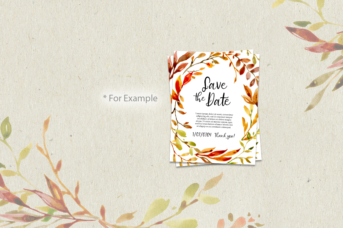 Watercolor Autumn Leaves & Branches example image 5