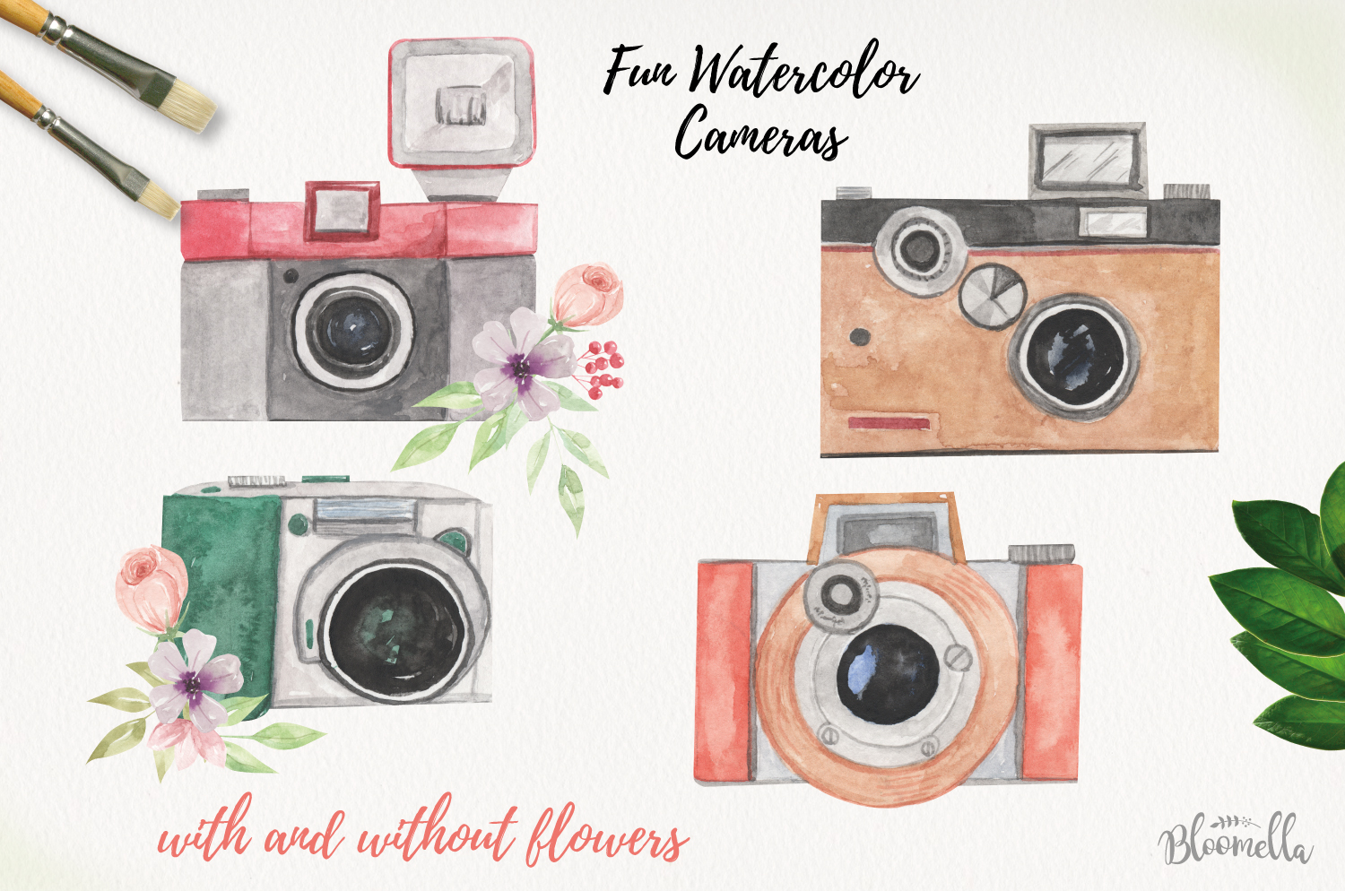 Cameras Watercolor Elements Photo Flowers Photography example image 2