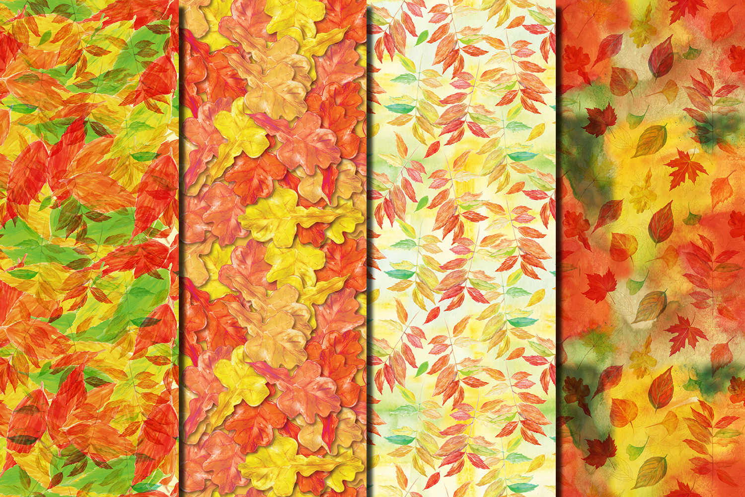 Autumn/ Fall Leaves seamless digital paper pack example image 2