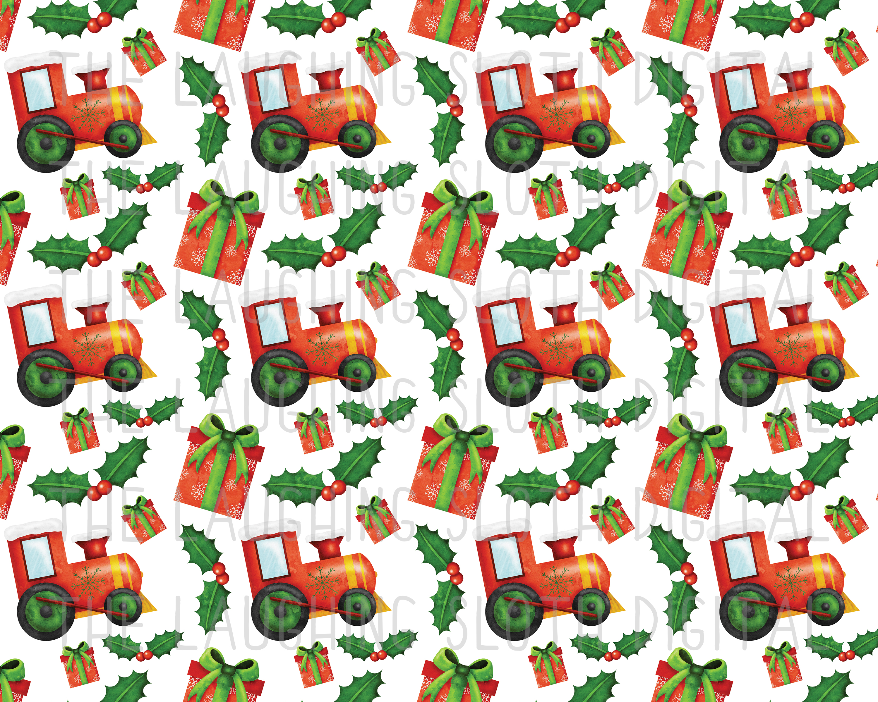 Watercolor Christmas Seamless Digital Papers Set 4 example image 3