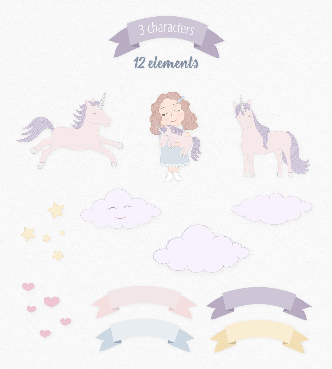 Cute Funny Unicorn Illustration Set example image 8