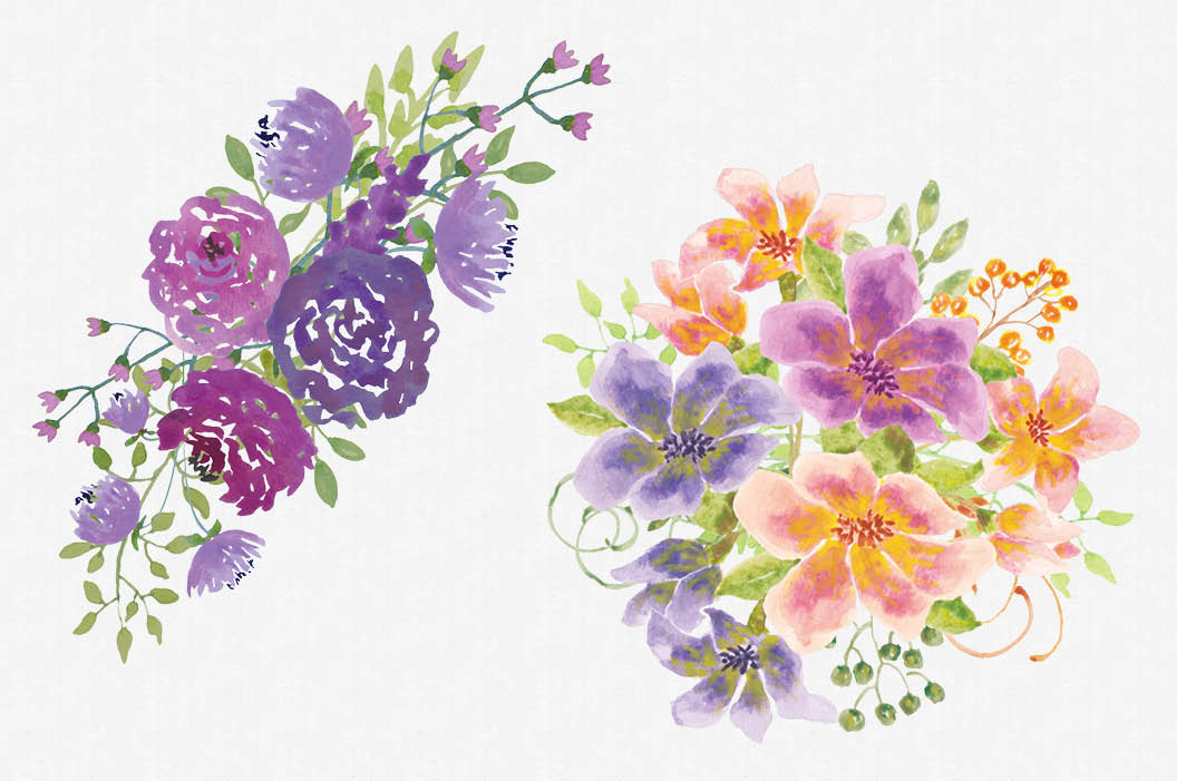 Set of mixed floral sprays hand painted watercolors example image 4