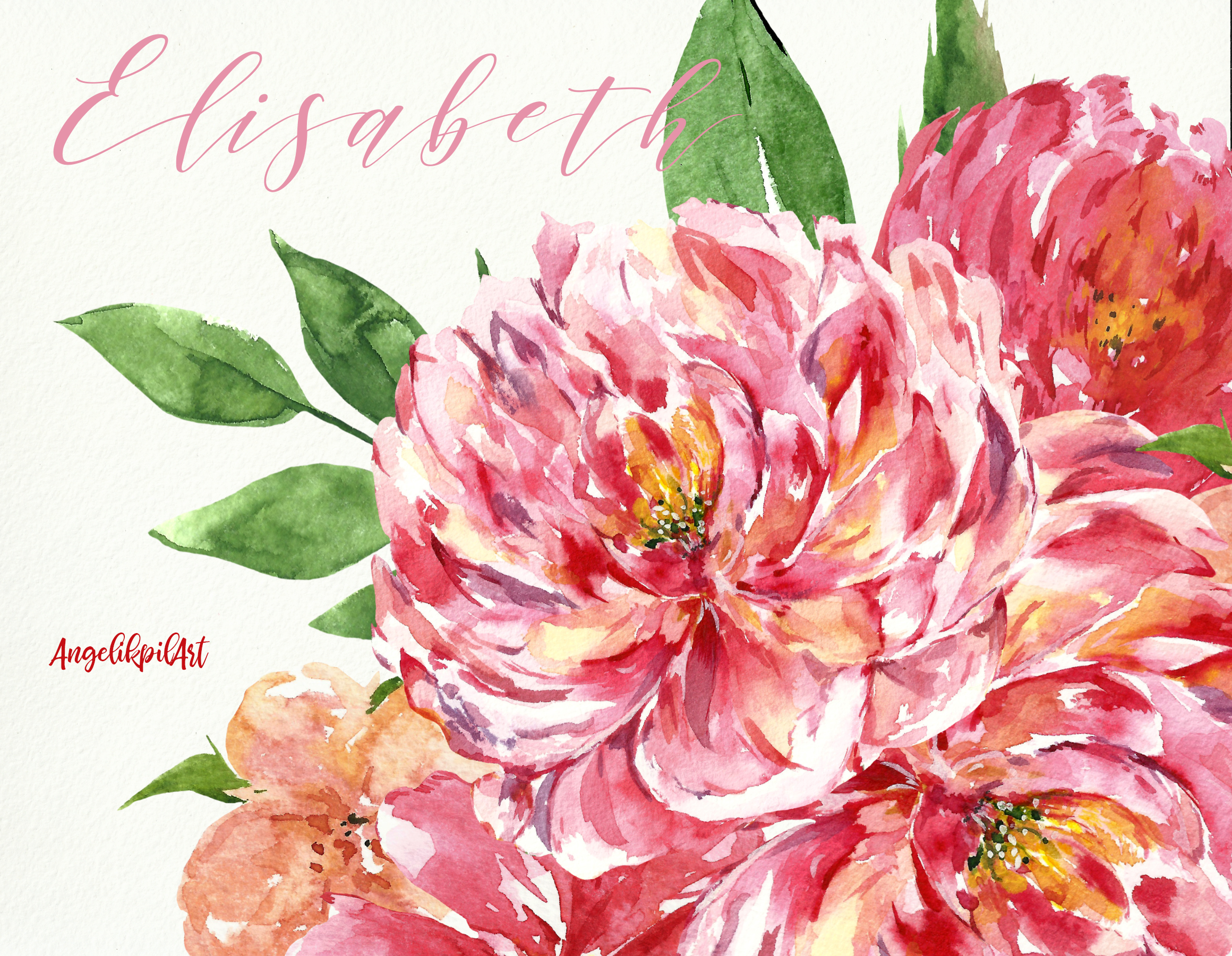 Watercolor pink flowers Clip Art example image 6