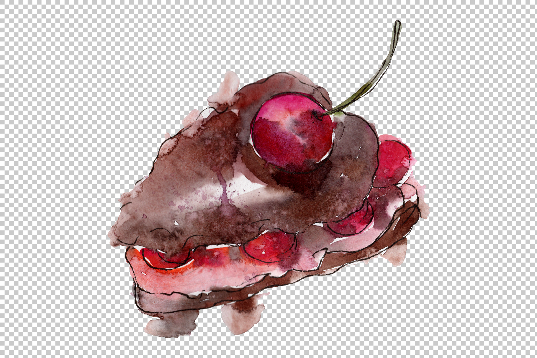Sweet yummy cake Watercolor png example image 7