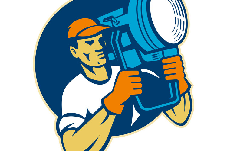film lighting crew holding a spotlight example image 1