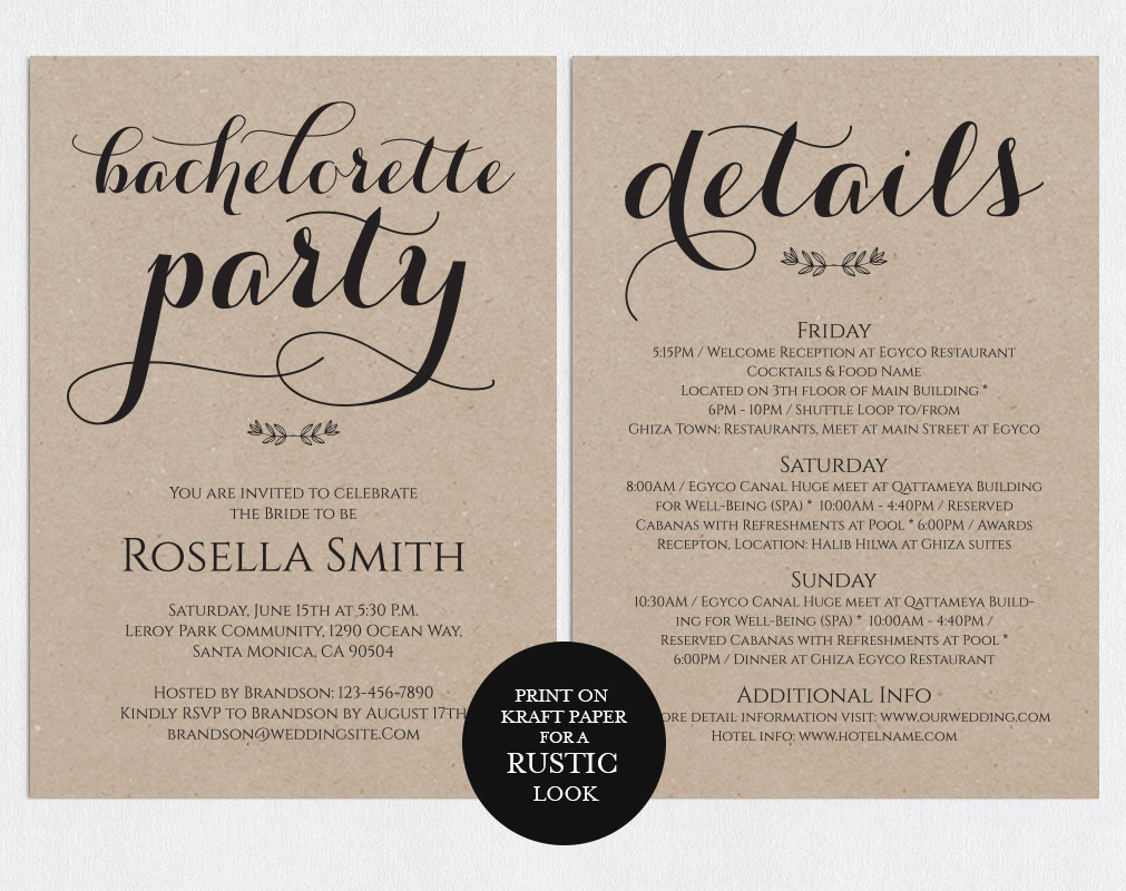 Bachelorette Party Invitations, TOS_50 example image 4
