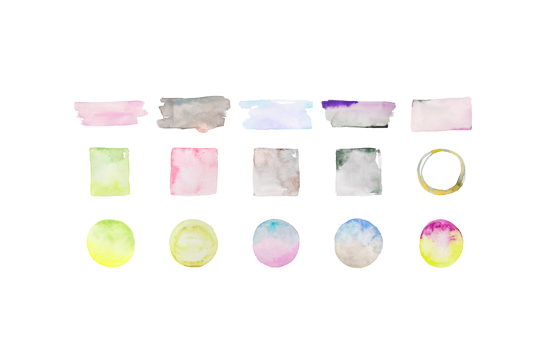 Watercolor shapes, hand painted frames and splotches example image 3