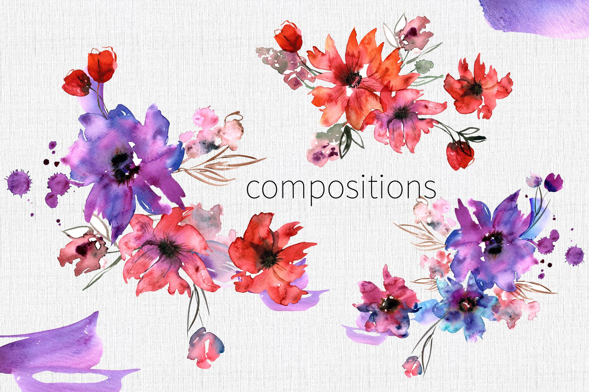 Watercolor Purple Flowers example image 6