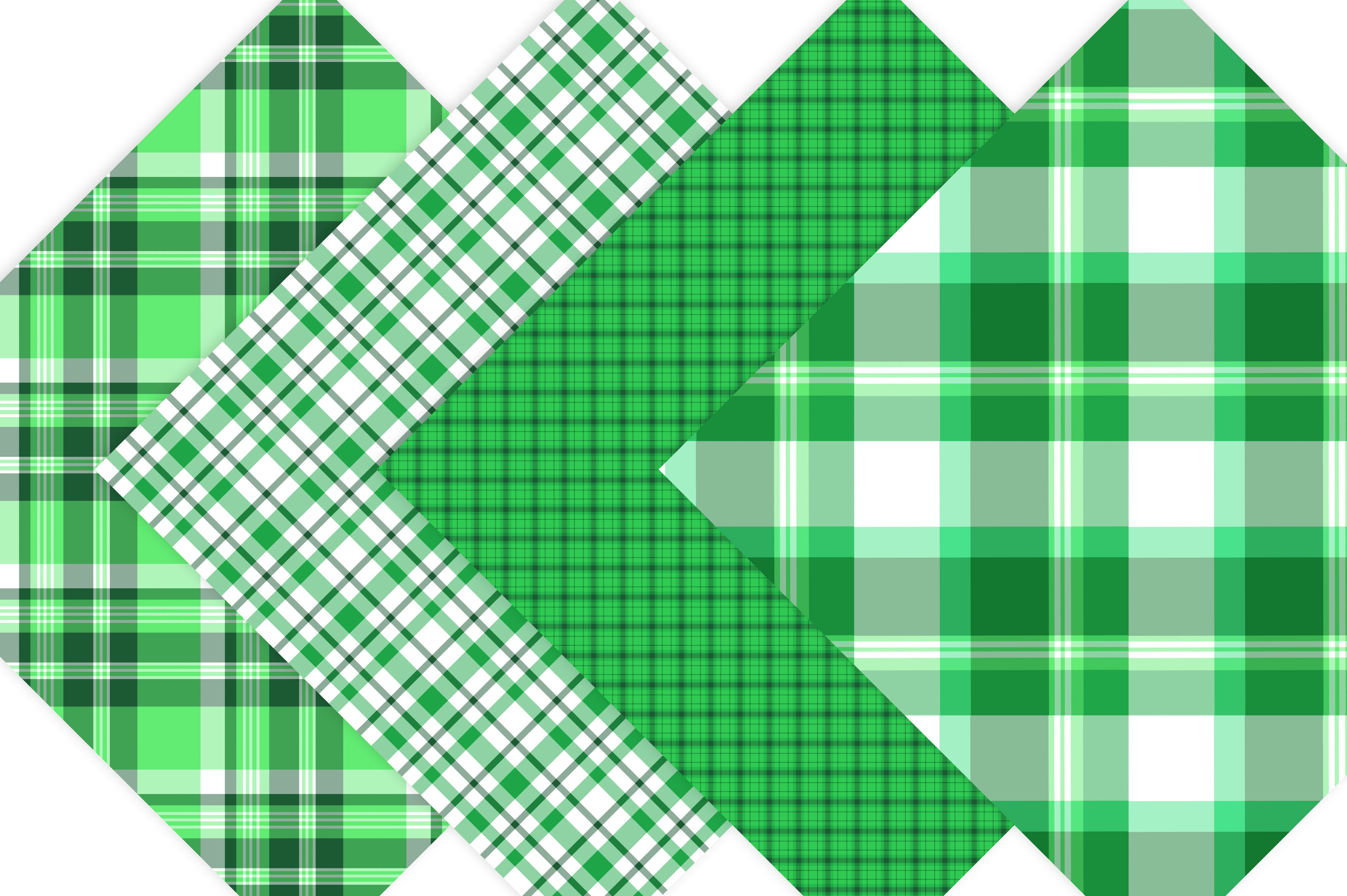 Green Plaid Digital Papers example image 3