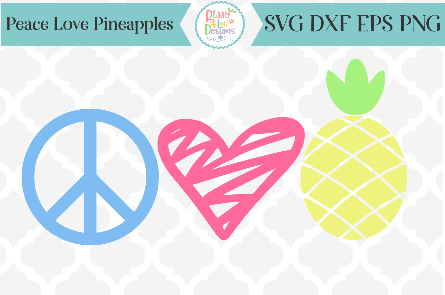 Peace Love and Pineapples SVG Cutting File I Summer SVG example image 1