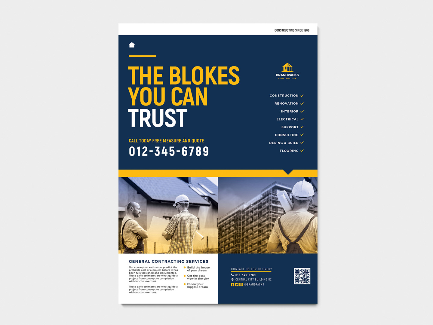 A4 Construction Company Advertisement Templates example image 3