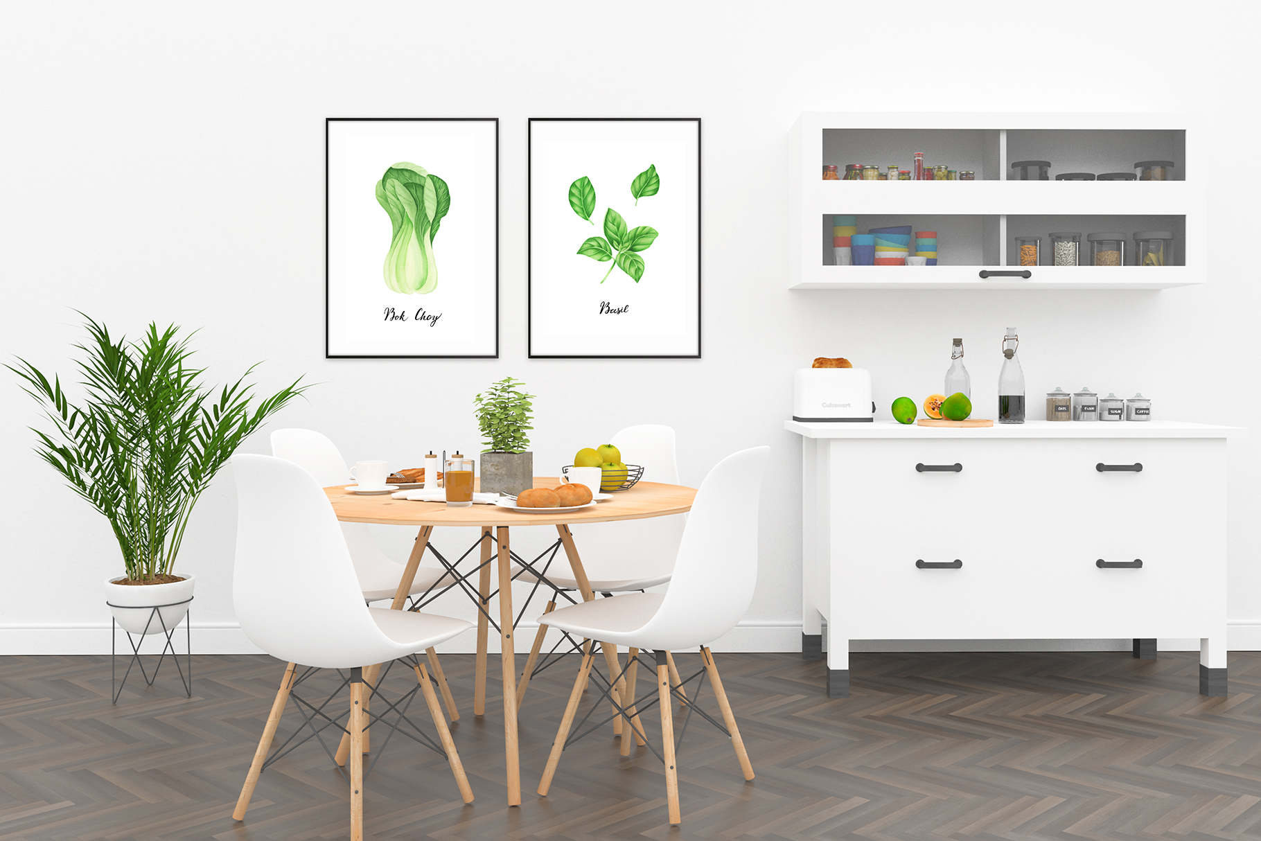 Watercolor green vegetables clipart example image 3