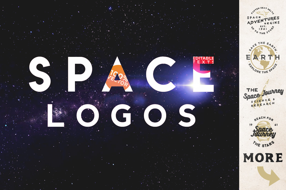 Space Vintage Logos example image 1