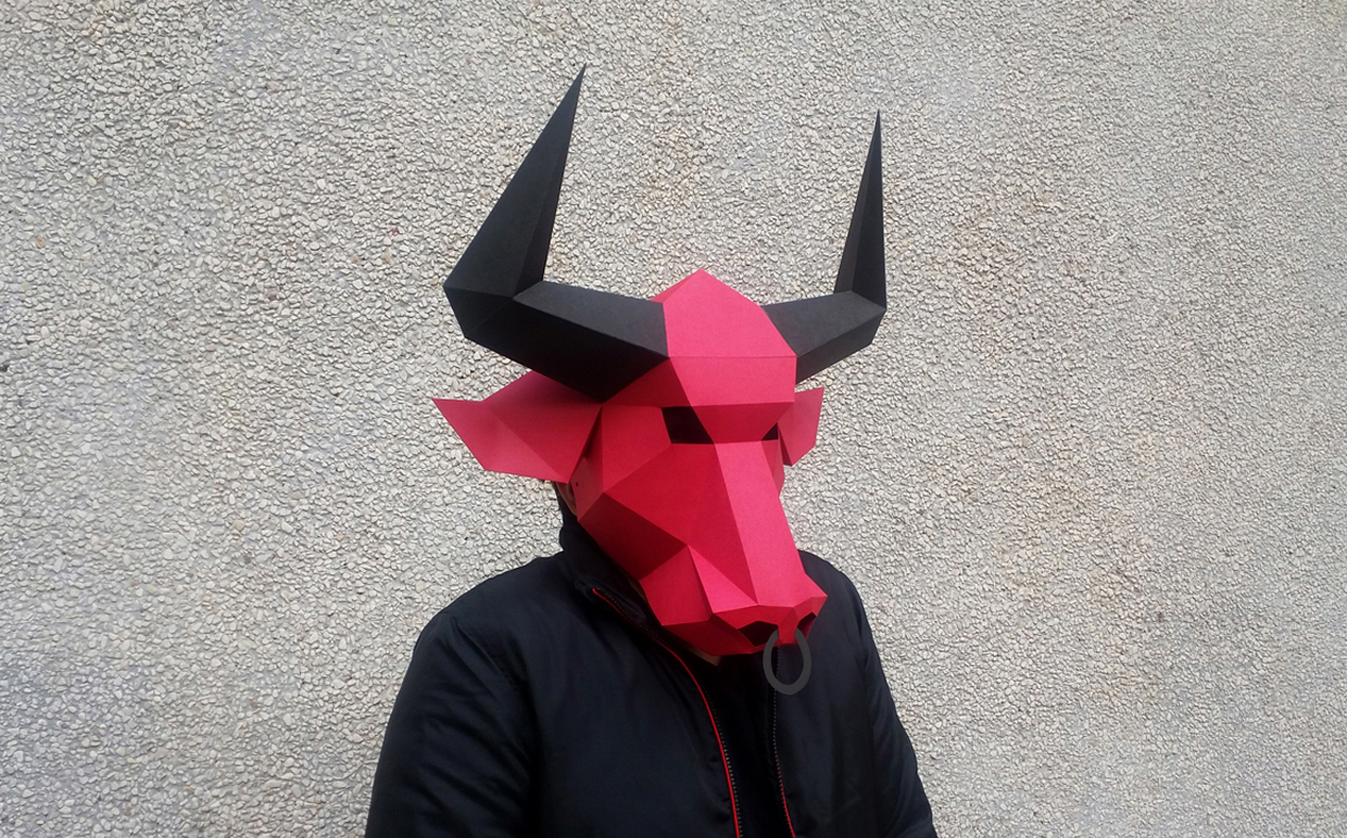 DIY Bull Mask - 3d papercraft example image 3