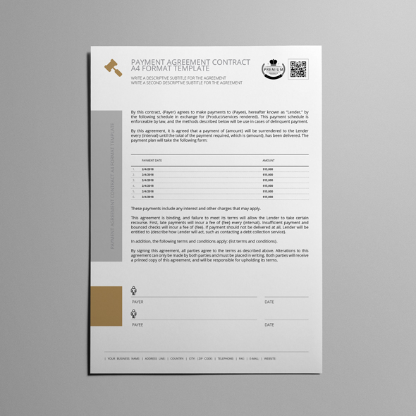 Payment Agreement Contract A4 Format Template example image 5