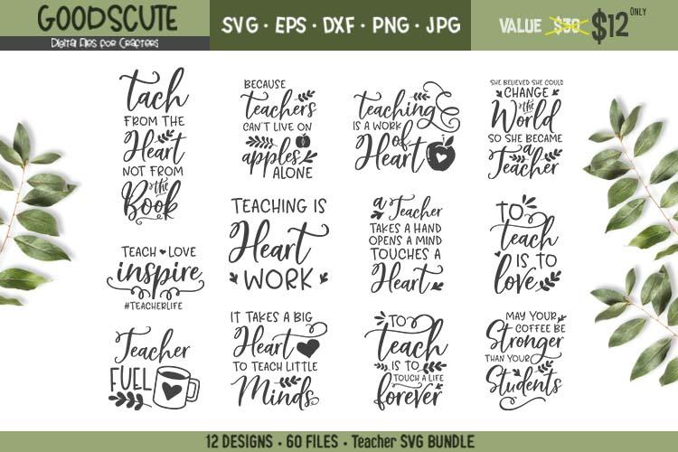 12 Teacher Quotes SVG Bundles - SVG DXF JPG PNG EPS example image 1