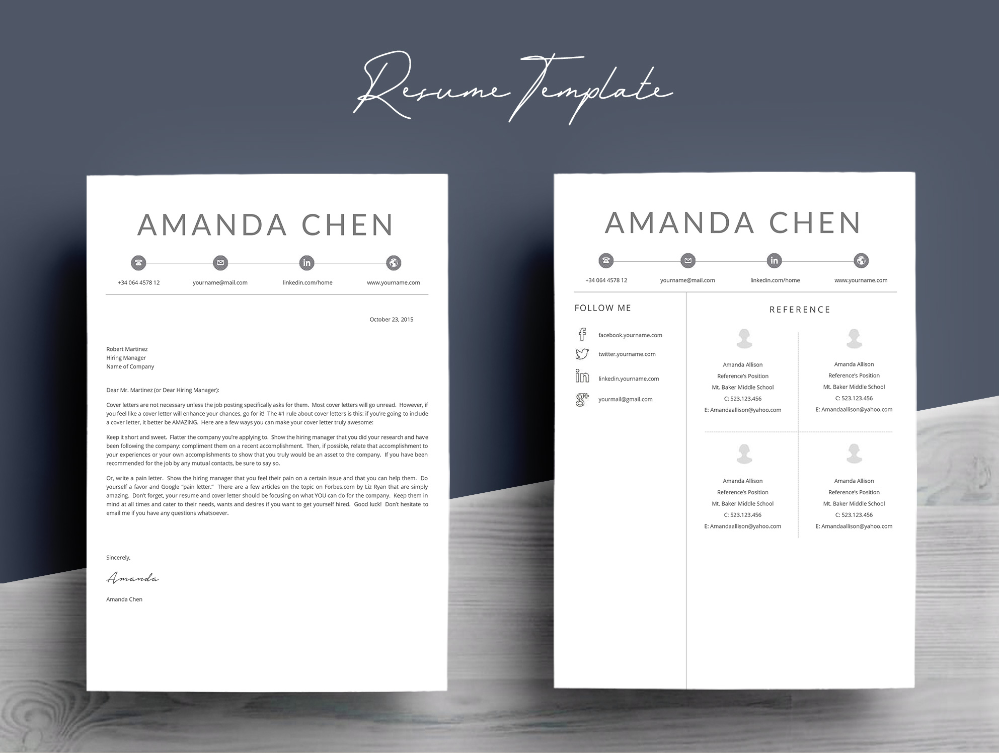 Clean Professional Resume Template Word example image 7