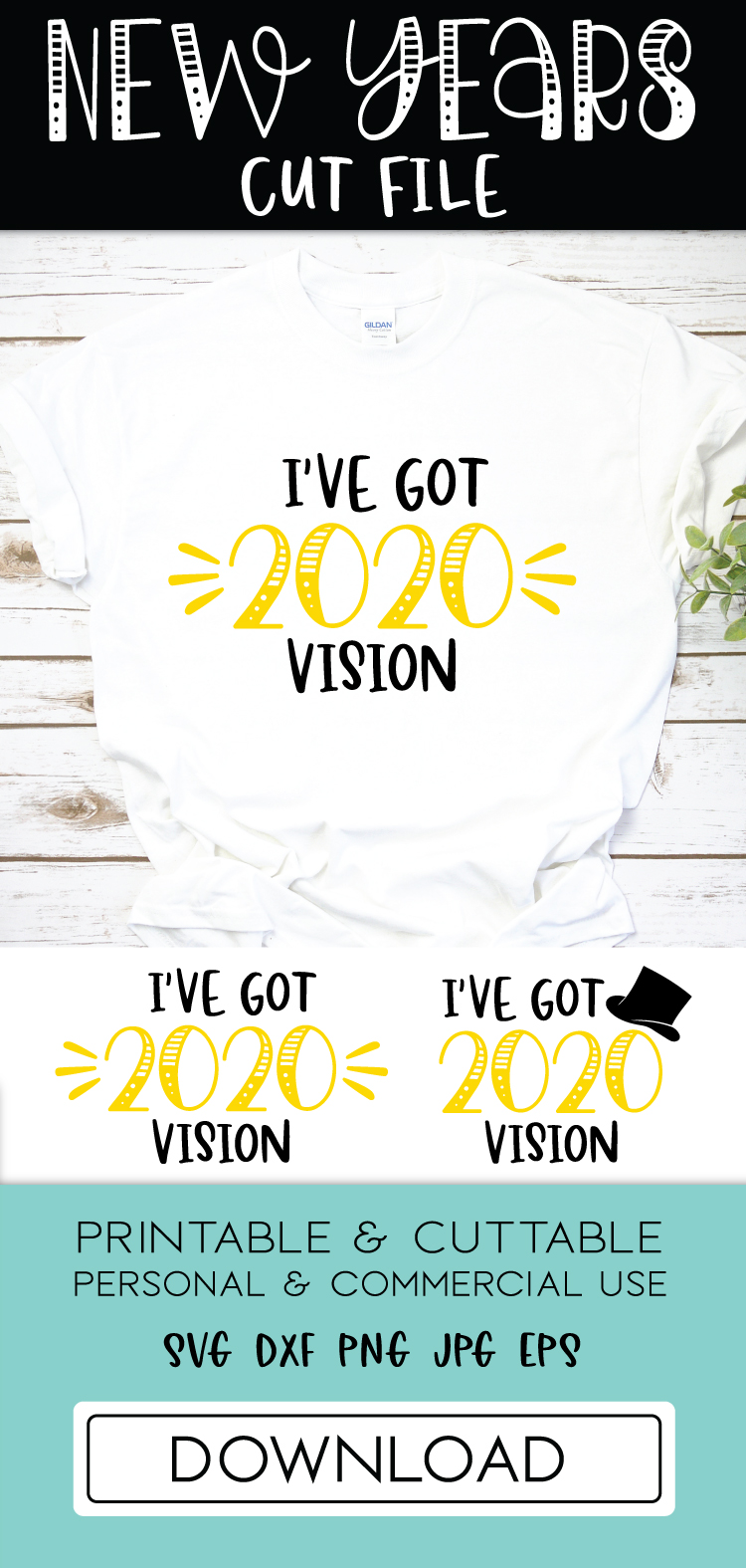 New Years 2020 Top Hat Cut File SVG DXF   New Years Eve SVG example image 2
