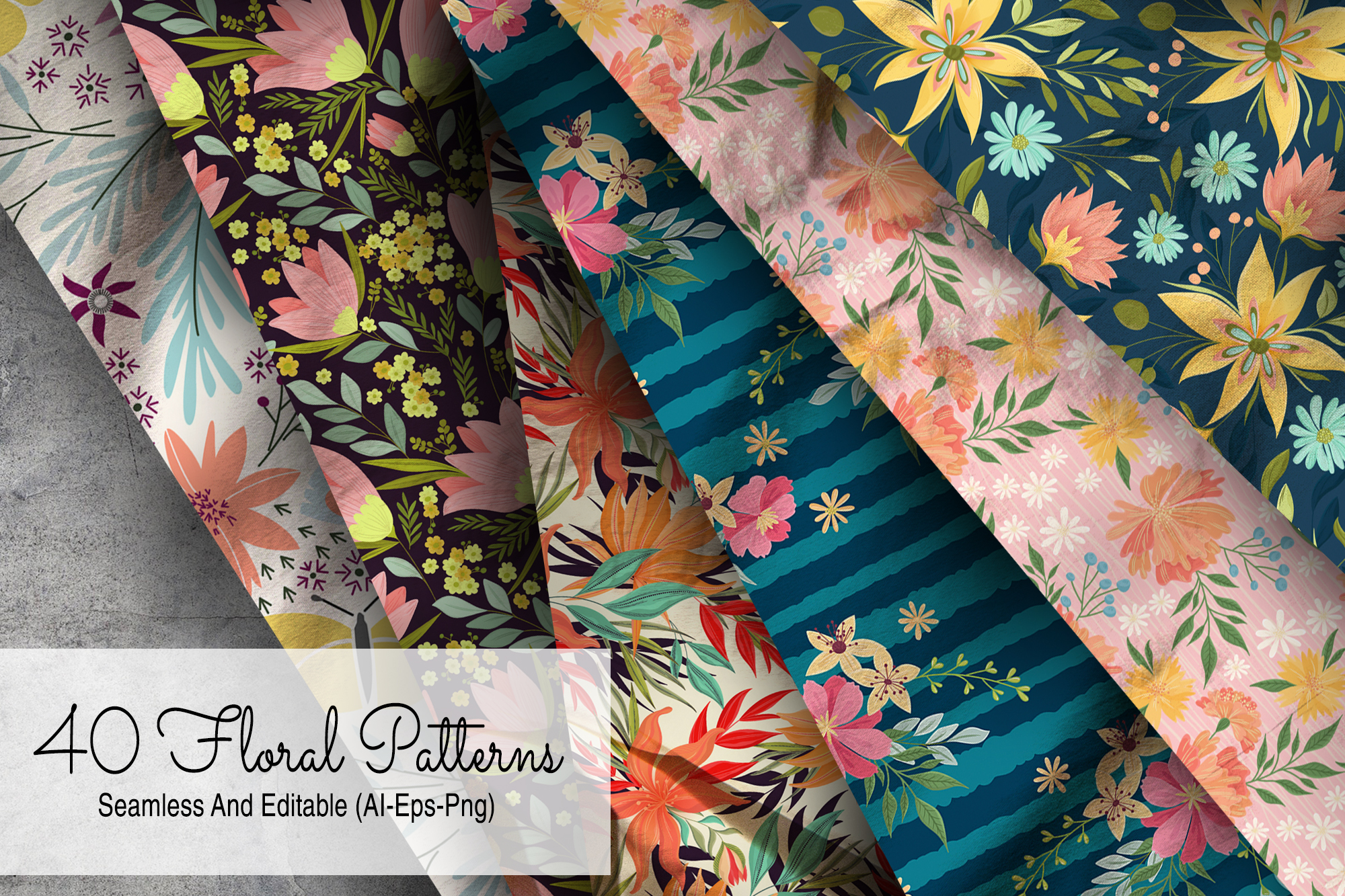 40 Floral Seamless Patterns example image 1