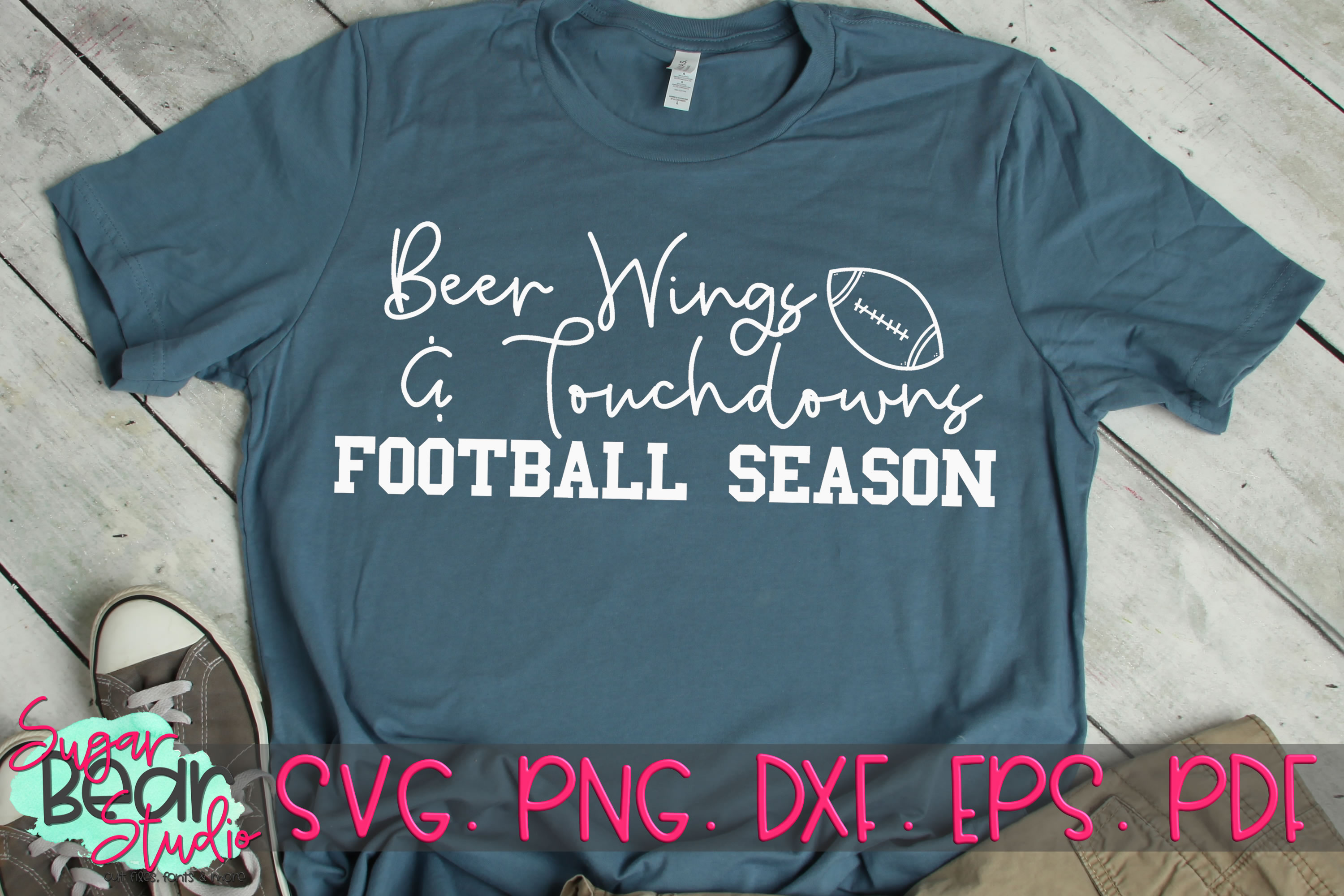 Beer Wings & Touchdowns Football Season - A Football SVG example image 1