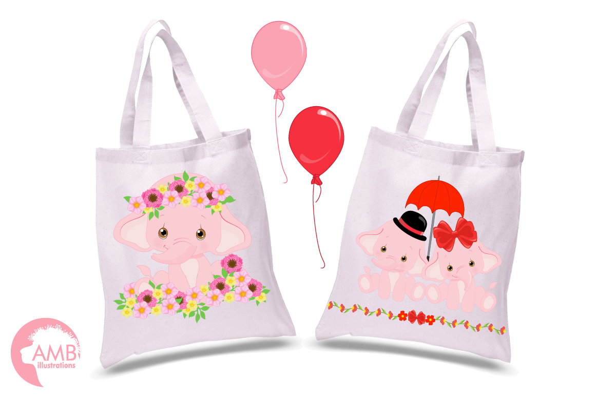 ELEPHANT babies in pink! BUNDLE! 53 cliparts, graphics and illustrations and Patterns AMB-2276 example image 9