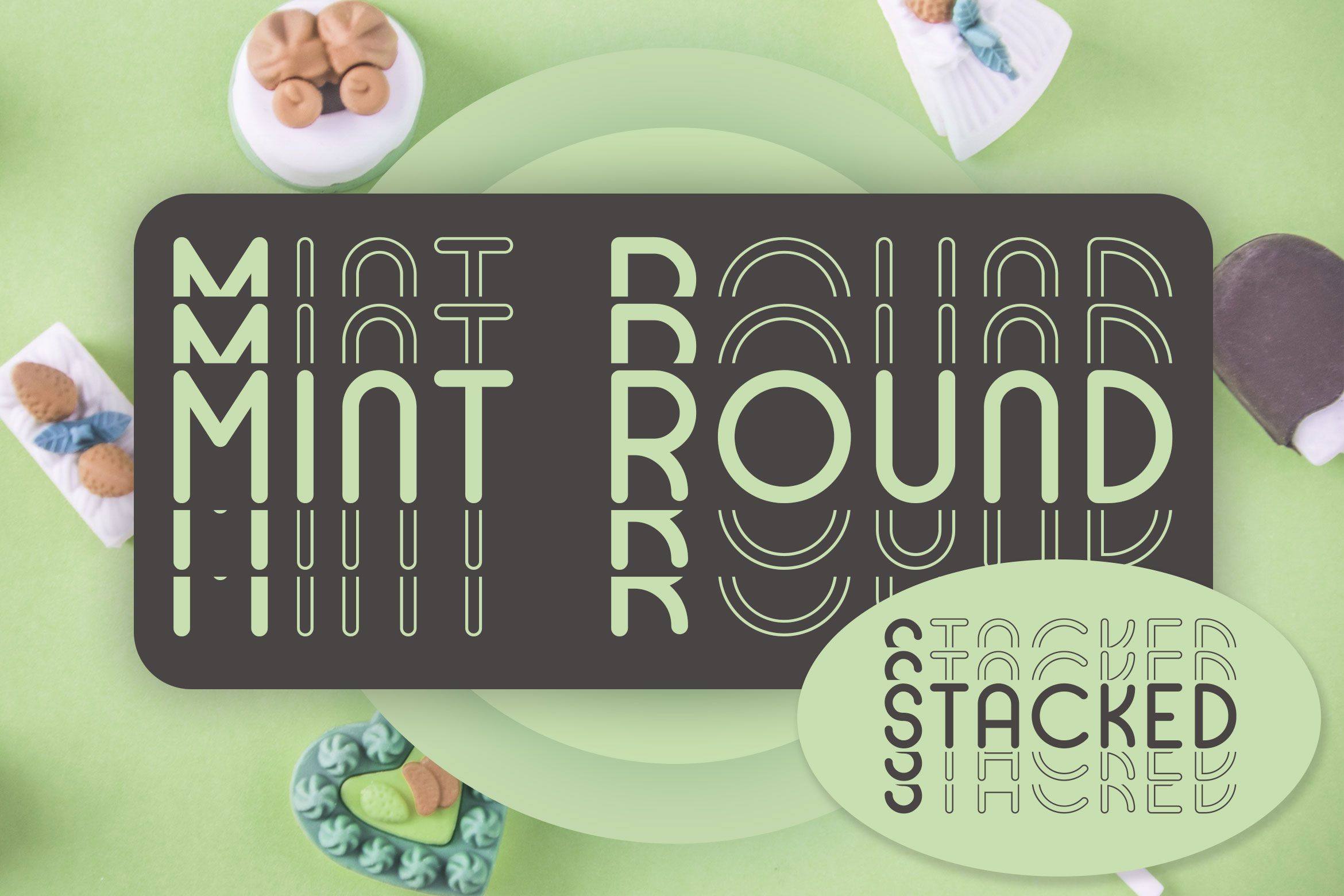 Mint Round - Stacked - Mirrored Font example image 1