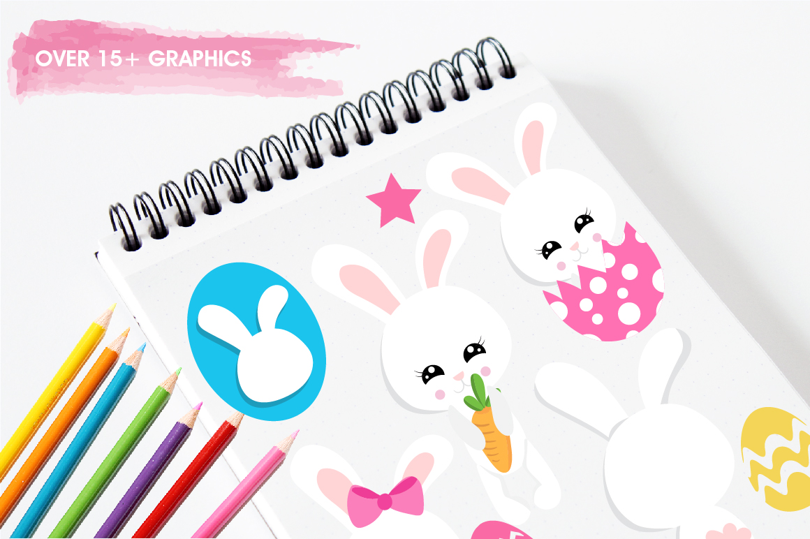 Easter cute bunnies graphics and illustrations example image 3