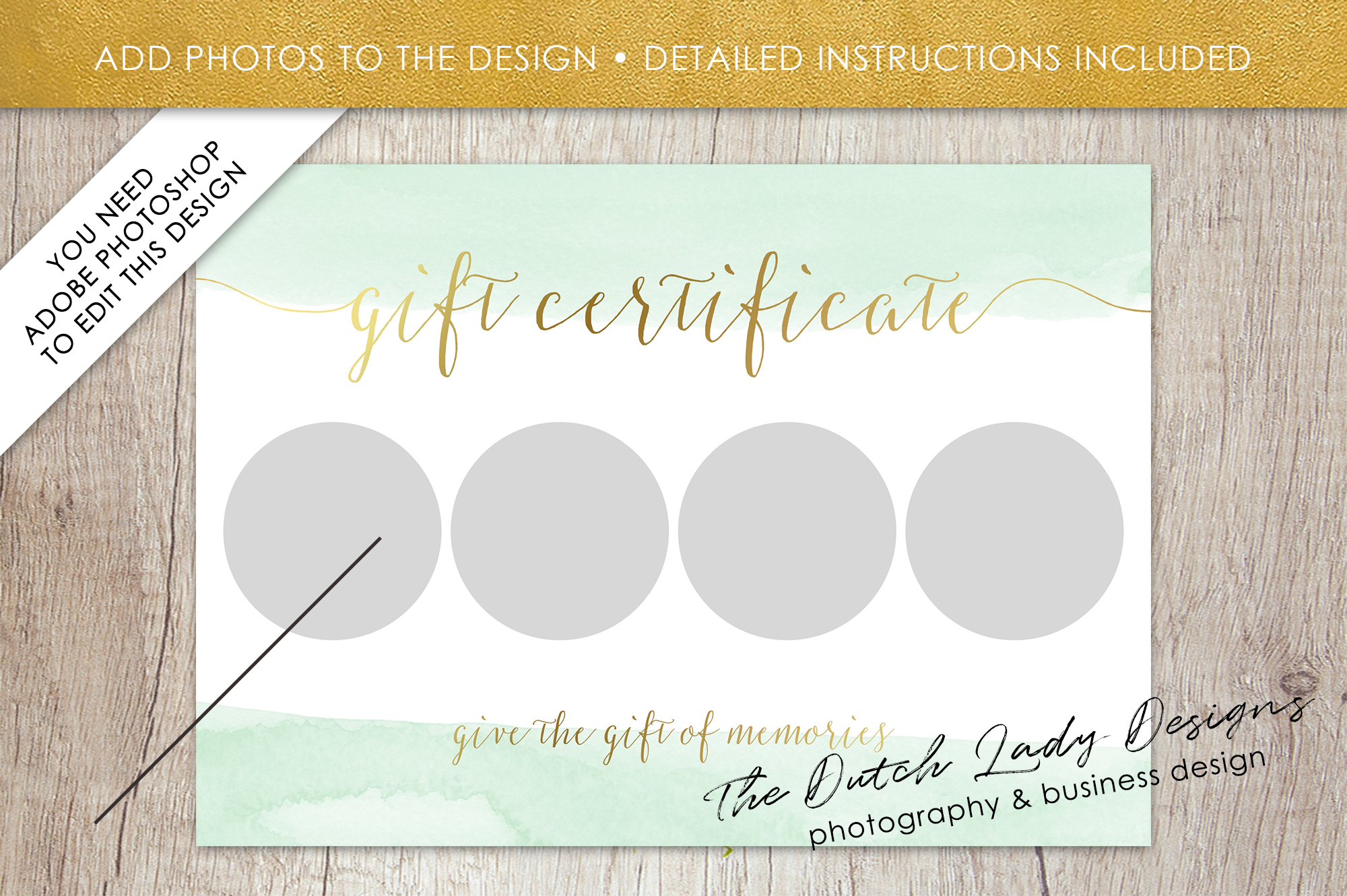Photo Gift Card Template for Adobe Photoshop - #52 example image 3
