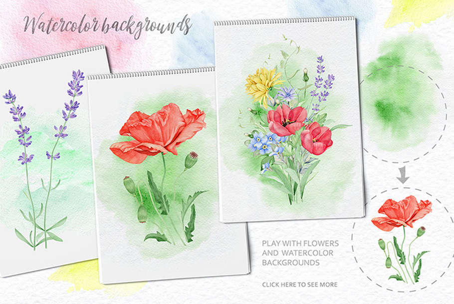 15%OFF. Watercolor Floral Collection example image 15