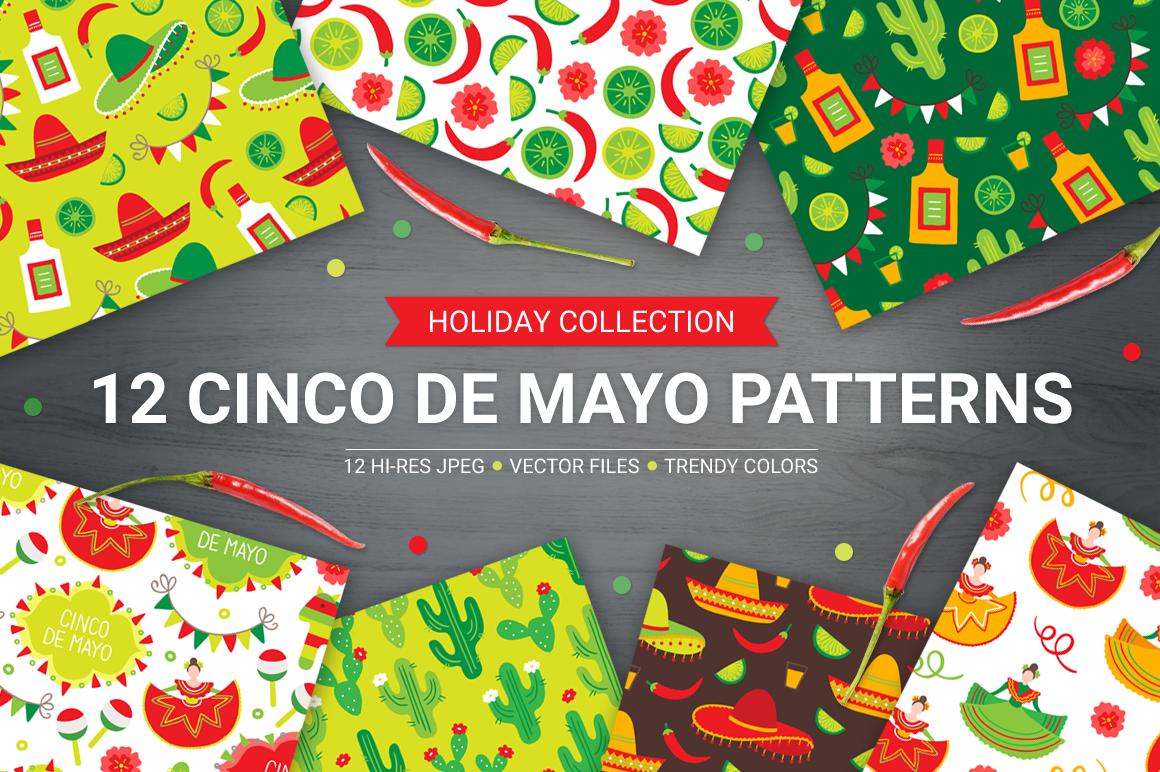 12 Cinco de Mayo Seamless Patterns example image 1