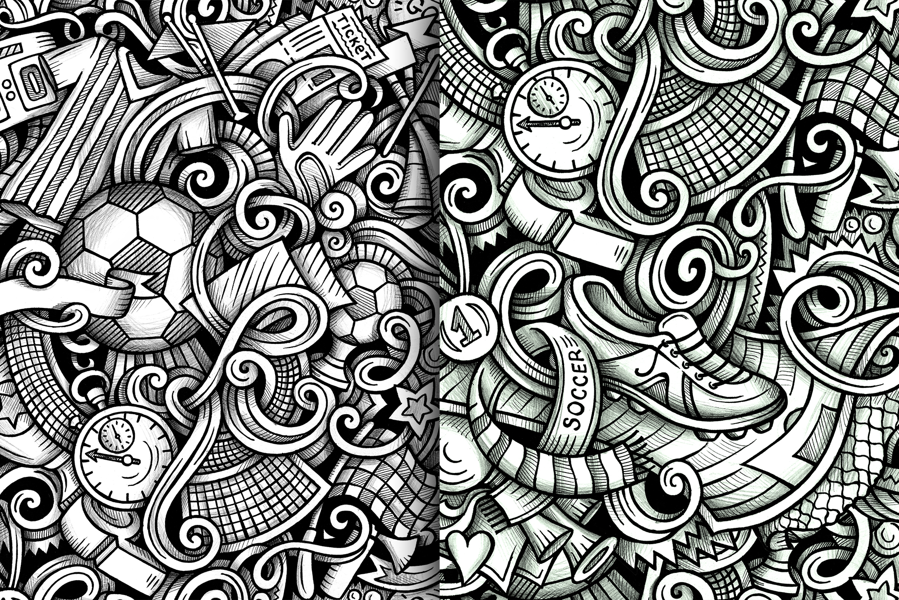 Soccer Graphic Doodle Patterns example image 5