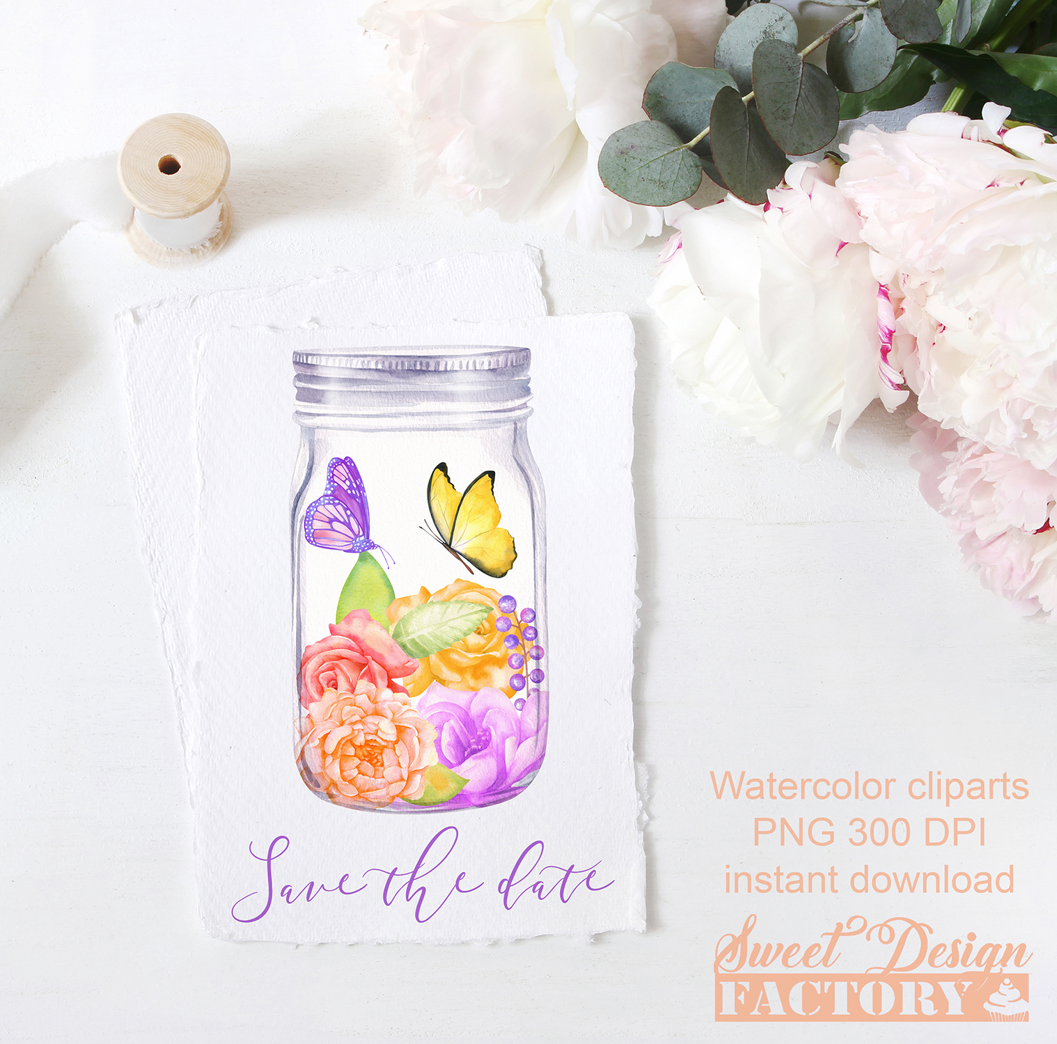 Watercolor floral clipart example image 4