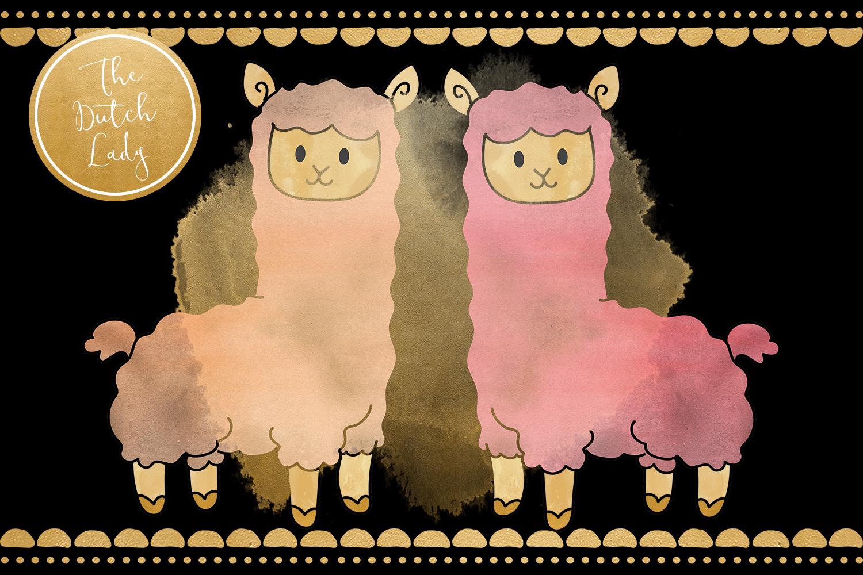 Pastel Lama & Alpaca Clipart Set example image 2