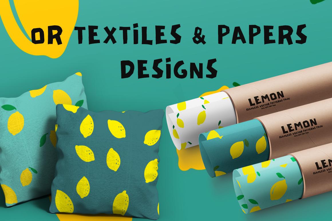 Lemon Seamless Vector Patterns Pack example image 2