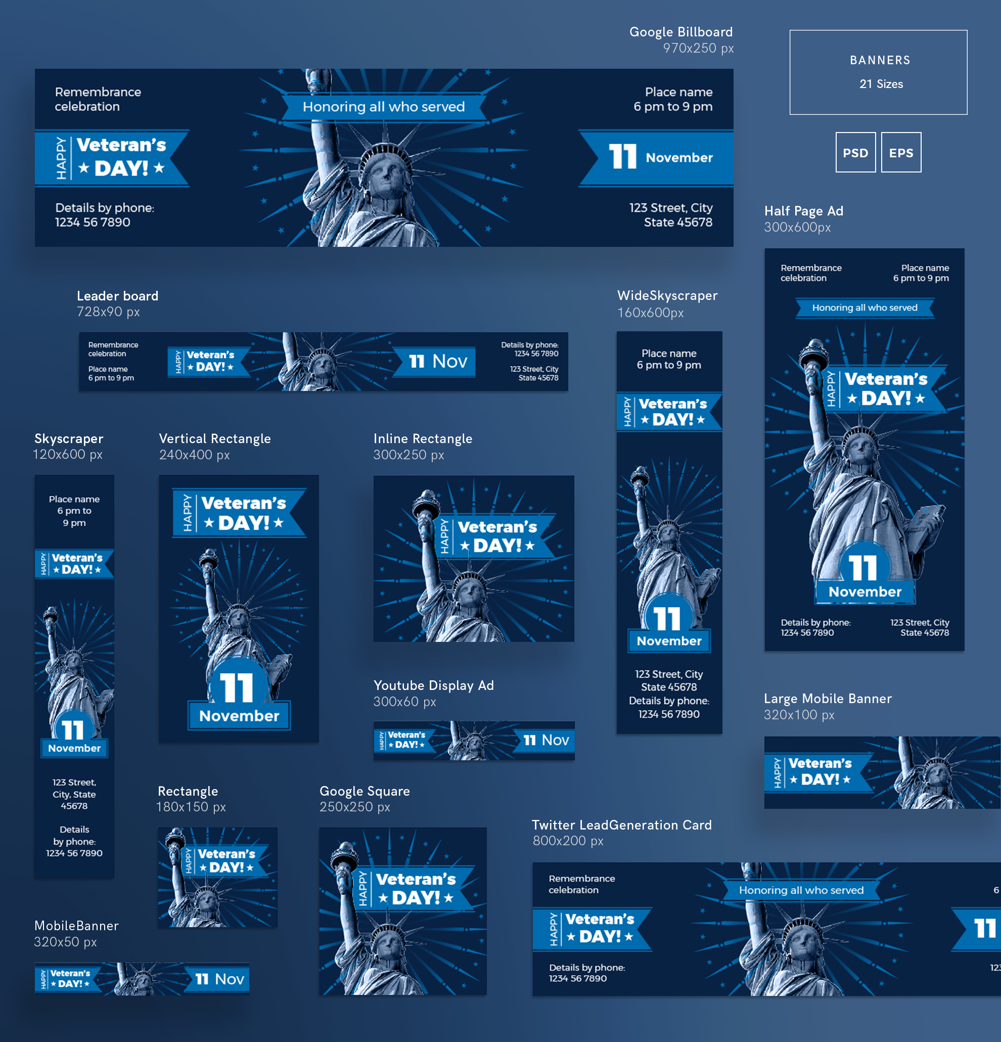 Veteran's Day Celebration Design Templates Bundle example image 5