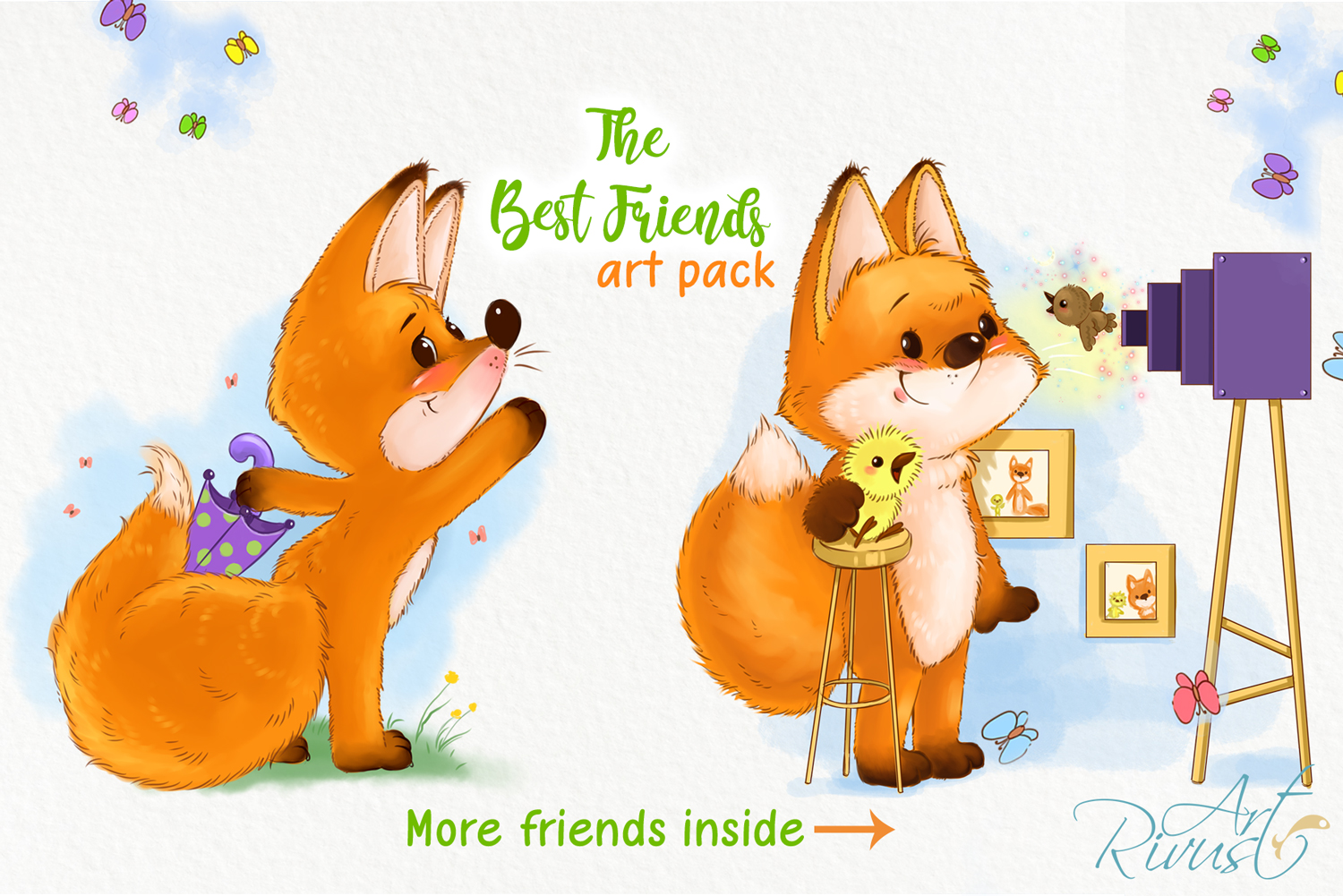 Fox and chick PNG clipart. The best friend graphic art. example image 3