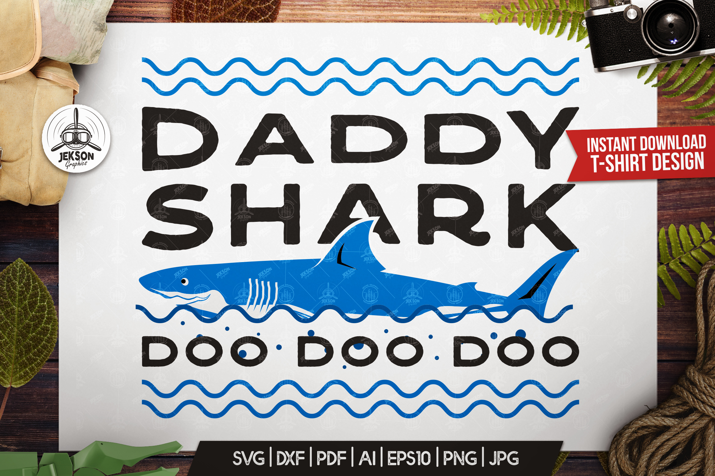 Retro Daddy Shark Print / Fathers Day T-Shirt, Family SVG example image 1