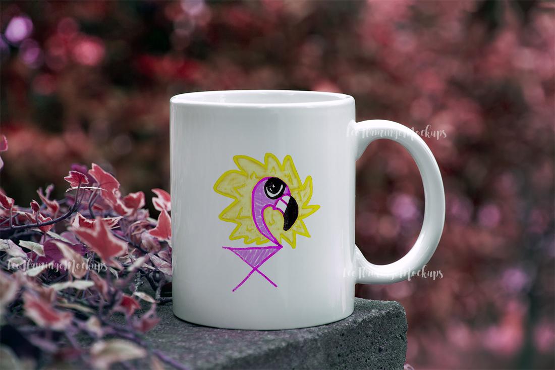 White coffee mug mockup autumn bokeh example image 2