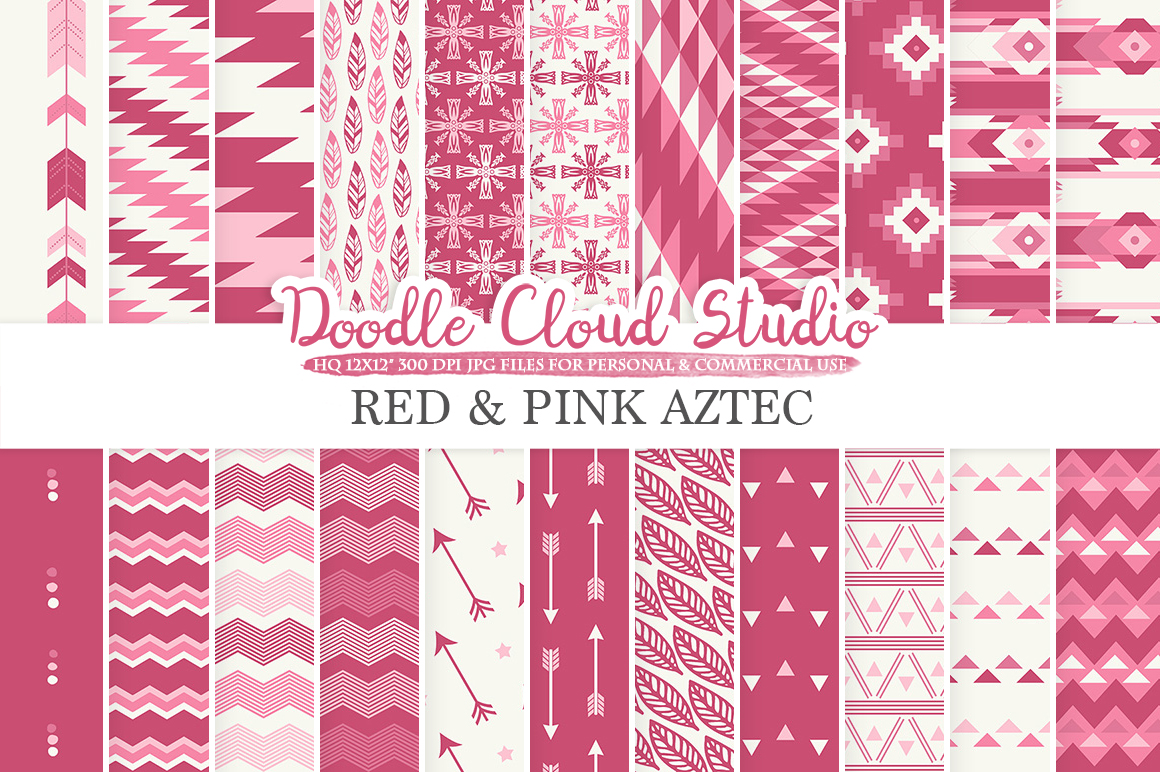 Red and Pink Aztec digital paper Purple Wine Tribal patterns native triangles geometric ethnic arrows backgrounds Personal & Commercial Use example image 1