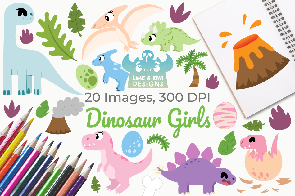 Dinosaur Girls Clipart, Instant Download Vector Art example image 1