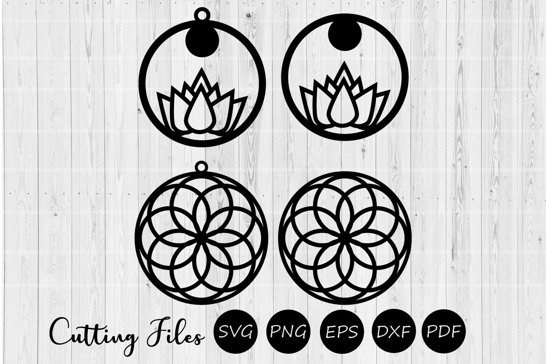 Round mandala & lotus earrings | SVG cutting files | example image 1